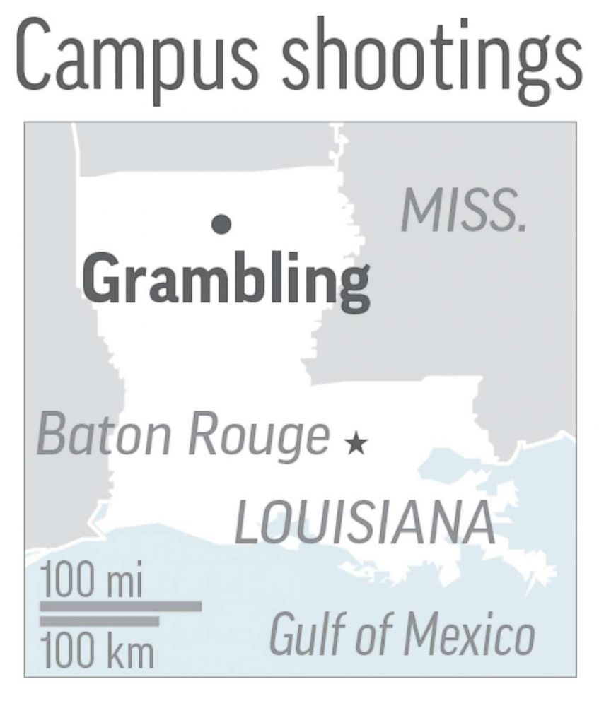 PHOTO: Map locates Grambling, La, where 2 people were shot at state university.