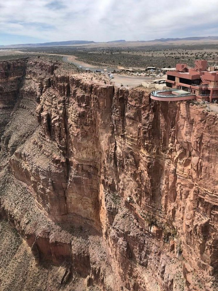 PHOTO: This Thursday, March 28, 2019 photo, provided by the Mohave County Sheriffs Office, shows the area where a tourist slipped and fell at the Grand Canyon on the Hualapai reservation in northwestern Arizona.