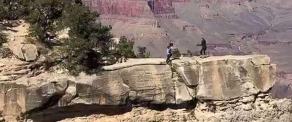 PHOTO: Near fall caught on video is a shocking reminder of safety at Grand Canyon.