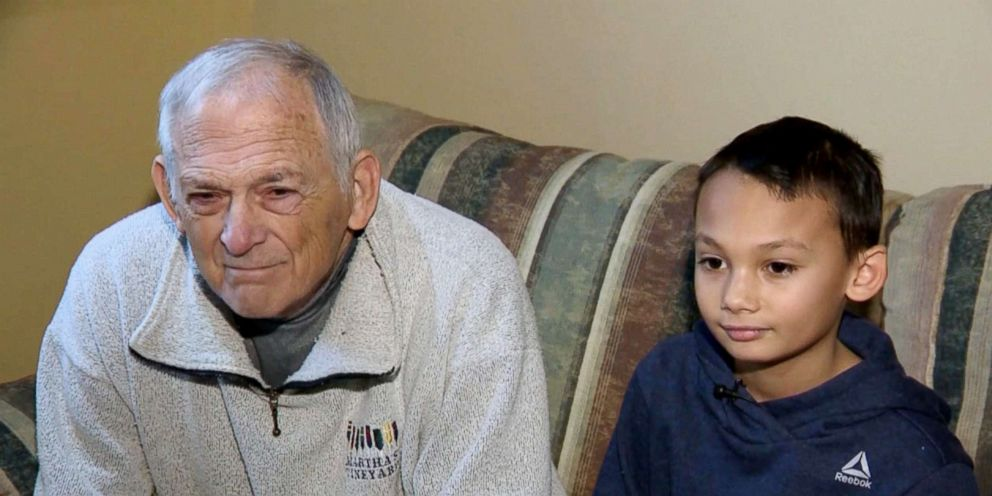 PHOTO: Kazin Crisman is picturedwith his grandfather during an interview in this image made from video.