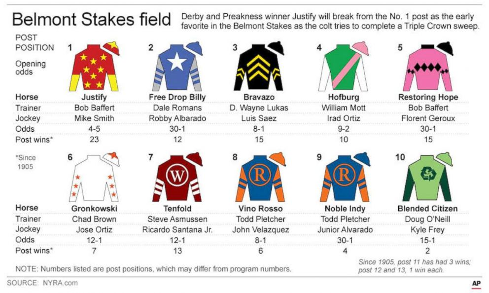 PHOTO: Graphic describes horses in the 2018 Belmont Stakes with post positions and jockeys silks.  Justify aiming for Triple Crown this weekend, guided by trainer who won it all 3 years ago graphic belmont jockey jersey ap ps 180608 hpEmbed 5x3 992