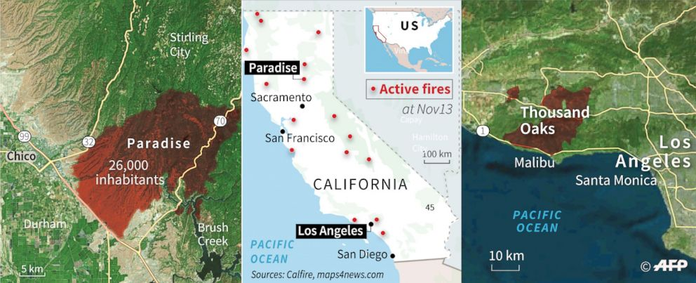 PHOTO: Map showing the location of the wildfires burning near Paradise and Thousand Oaks, Calif.