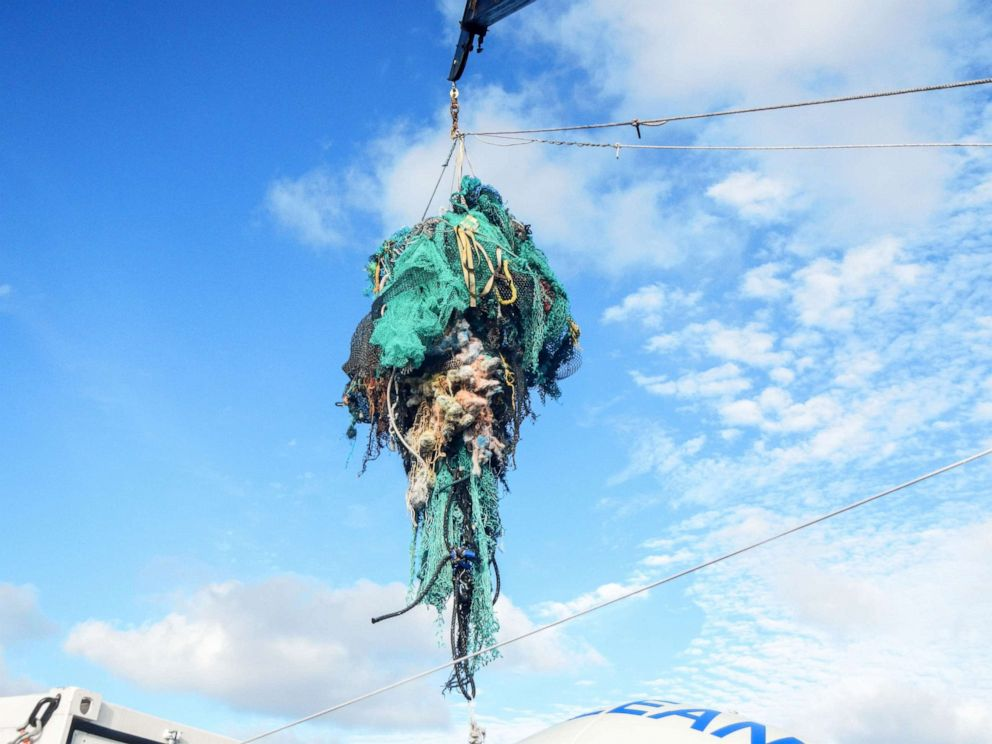 PHOTO: An undated handout photo made available by The Ocean Cleanup, March 23, 2018, shows abandoned nets and other plastic garbage being pulled out of the ocean at the Great Pacific Garbage Patch (GPGP), located halfway between Hawaii and California.