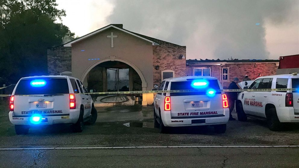 Louisiana State Fire Marshall vehicles are seen outside the Greater Union Baptist Church during a fire, in Opelousas, Louisiana, April 2, 2019, in this picture obtained from social media.
