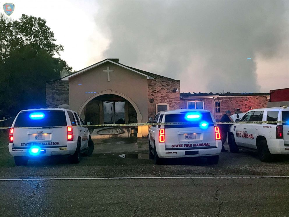 PHOTO: Louisiana State Fire Marshall vehicles are seen outside the Greater Union Baptist Church during a fire, in Opelousas, Louisiana, April 2, 2019, in this picture obtained from social media.