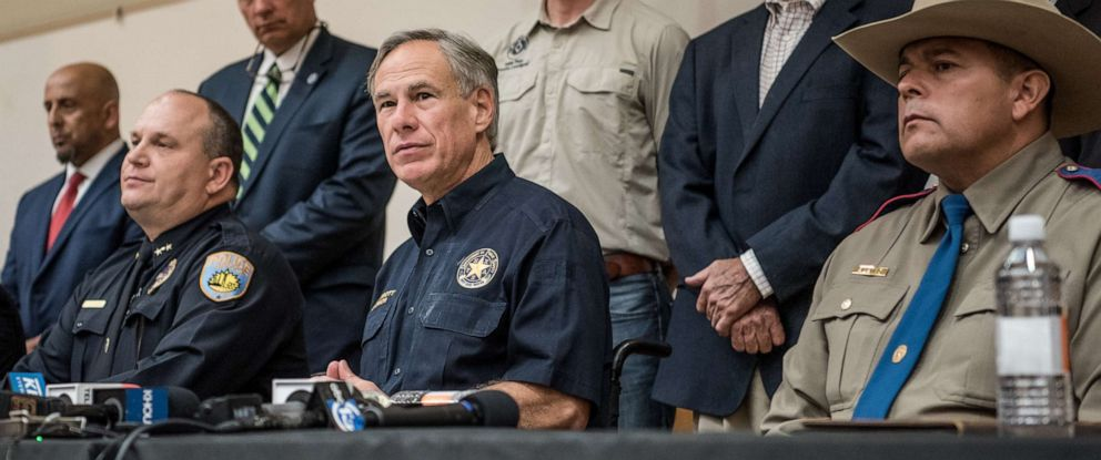 PHOTO: Texas Gov. Greg Abbott holds a press conference with local and federal law enforcement at the University of Texas of the Permian Basin following a deadly shooting spree on Sept. 1, 2019, in Odessa, Texas.