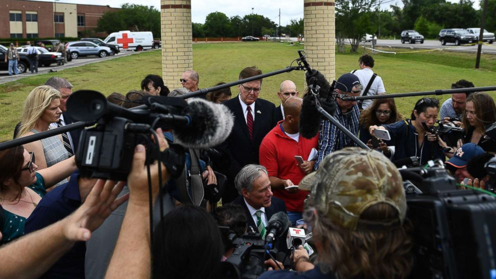 Texas Governor Greg Abbott  speaks to the press on the grounds of Santa Fe High School, May, 20, 2018, in Santa Fe, Texas.