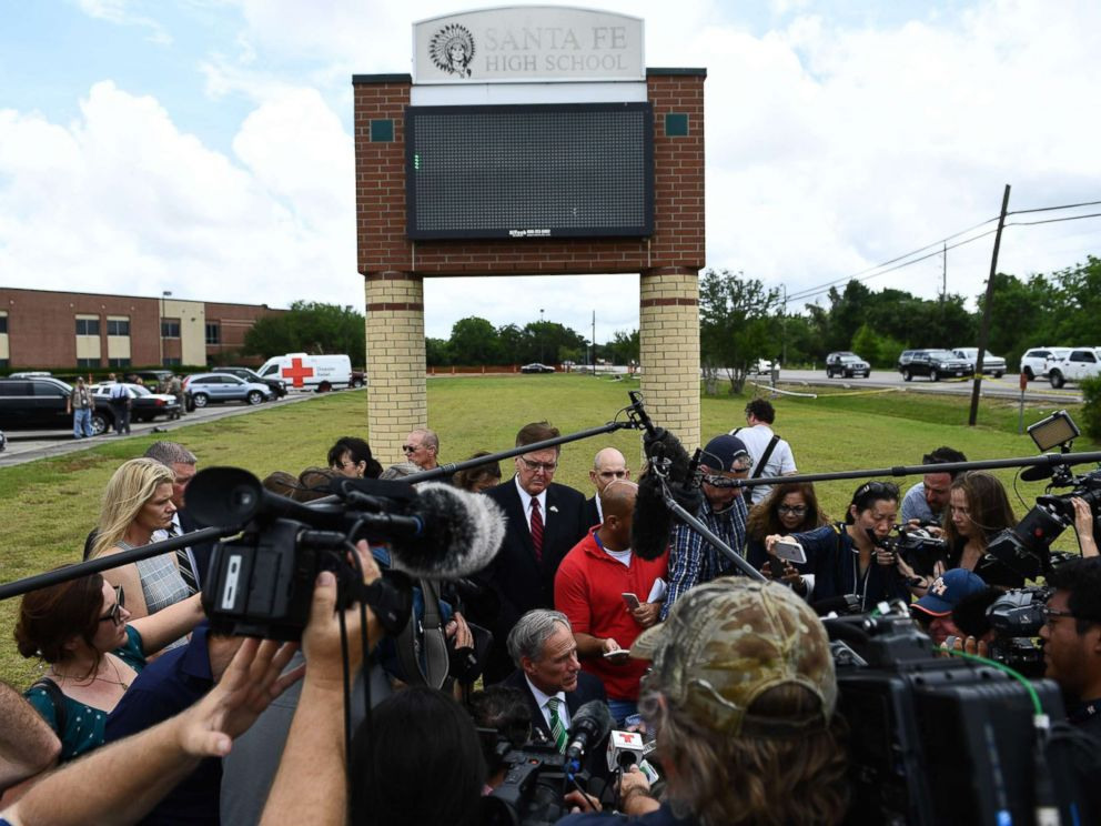 PHOTO: Texas Governor Greg Abbott speaks to the press on the grounds of Santa Fe High School, May, 20, 2018, in Santa Fe, Texas.