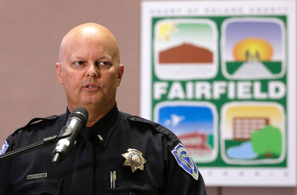 PHOTO: Lt. Greg Hurlbut of the Fairfield Police Department discusses the charges brought against a Fairfield couple, May 14, 2018, in Fairfield, Calif.