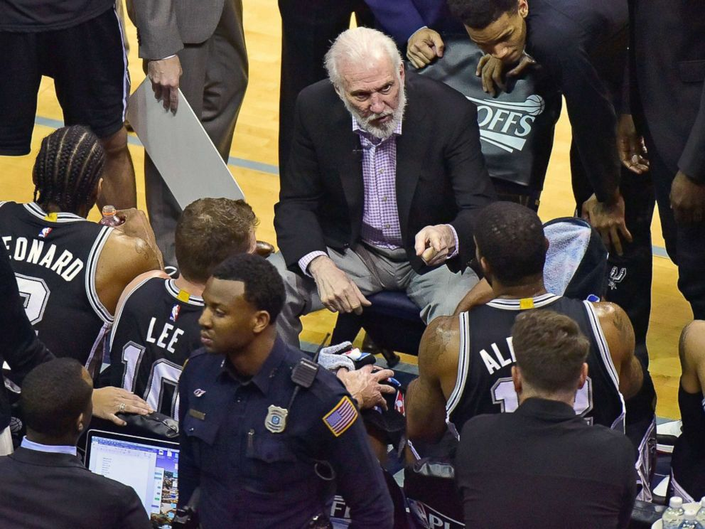 PHOTO: Head coach Gregg Popovich of the San Antonio Spurs coaches during the first half of Game 6 of the Western Conference Quarterfinals against the Memphis Grizzlies during the 2017 NBA Playoffs at FedExForum, April 27, 2017, in Memphis, Tenn.