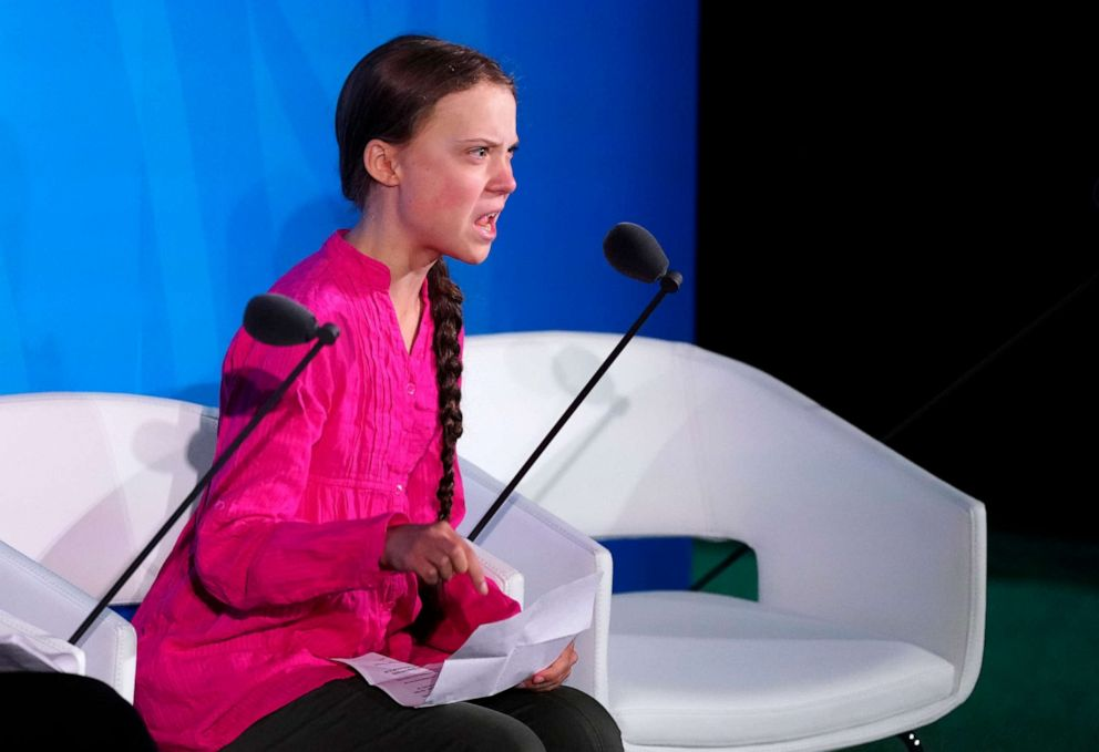 hollywood PHOTO: Swedish Climate activist Greta Thunberg, 16, speaks at the 2019 United Nations Climate Action Summit at U.N. headquarters in New York, Sept. 23, 2019.