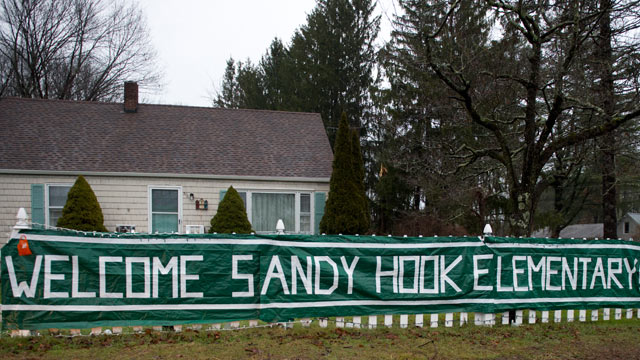 PHOTO: A sign near Chalk Hill Middle school greets students from Sandy Hook Dec. 18, 2012 in Monroe, Connecticut.