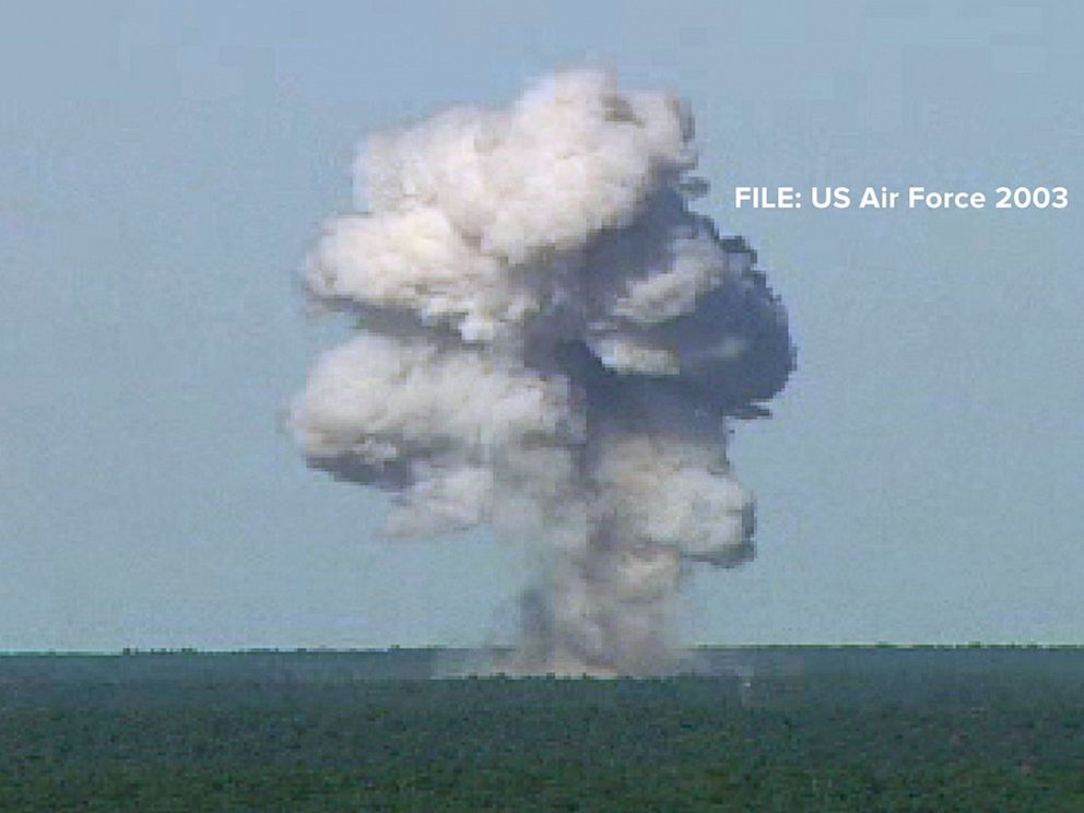 PHOTO: In this U.S. Air Force handout photo, a GBU-43/B bomb, or Massive Ordnance Air Blast (MOAB) bomb, explodes Nov. 21, 2003 at Eglin Air Force Base, Florida. MOAB is a 21,700-pound that was dropped from a plane at 20, 000 feet.
