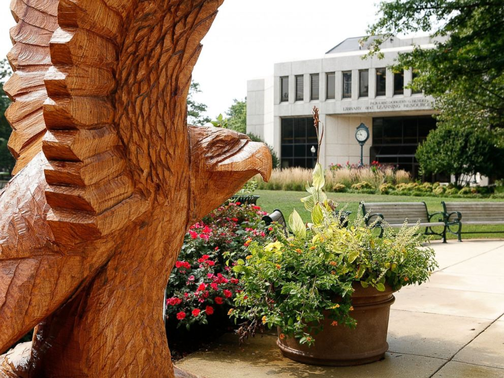 PHOTO: A wood carving sculpture of American Universitys mascot, an eagle, is displayed on campus, Aug. 15, 2006, in Washington, DC.