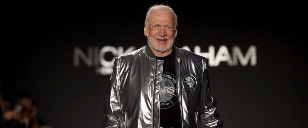 PHOTO: Former NASA astronaut Buzz Aldrin, lunar module pilot on Apollo 11 and second man to walk on the Moon, walks the runway during the Nick Graham fashion show during New York Fashion Week in New York, Jan. 31, 2017.