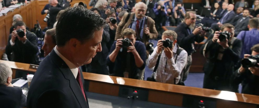 PHOTO: Former FBI Director James Comey arrives to testify before the Senate Intelligence Committee on Capitol Hill, June 8, 2017 in Washington, D.C.