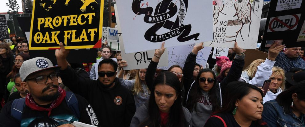 PHOTO: Demonstrators march to the Federal Building in protest against President Donald Trumps executive order fast-tracking the Keystone XL and Dakota Access oil pipelines, in Los Angeles on Feb. 5, 2017.