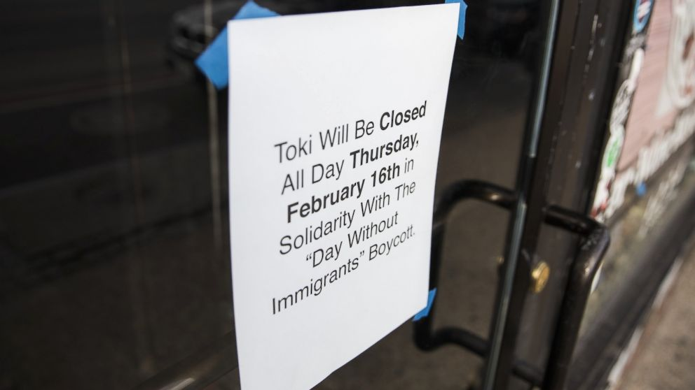 """A sign is tapped to the door of a restaurant announcing it will be closed in order to support its staff that are participating in the """"Day Without Immigrants"""" boycott against President Trumps immigration policies in Washington, Feb. 15, 2017."""