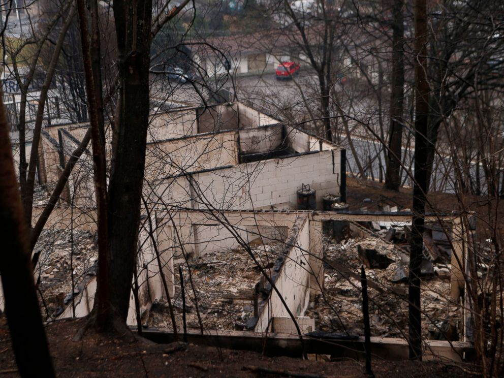 PHOTO: The remains of a business are pictured in the wake of a wildfire, Nov. 30, 2016, in Gatlinburg, Tennessee.