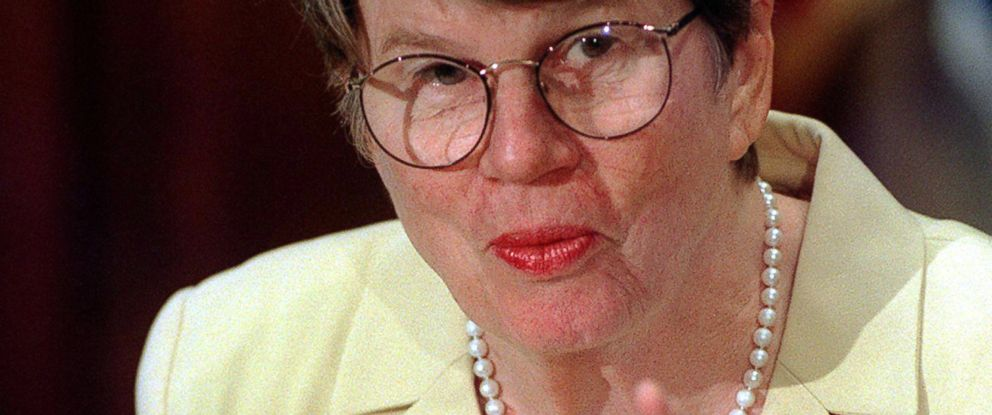 PHOTO: U.S. Attorney General Janet Reno speaks to reporters during a press conference at the U.S. Department of Justice, Sept. 3, 1999.