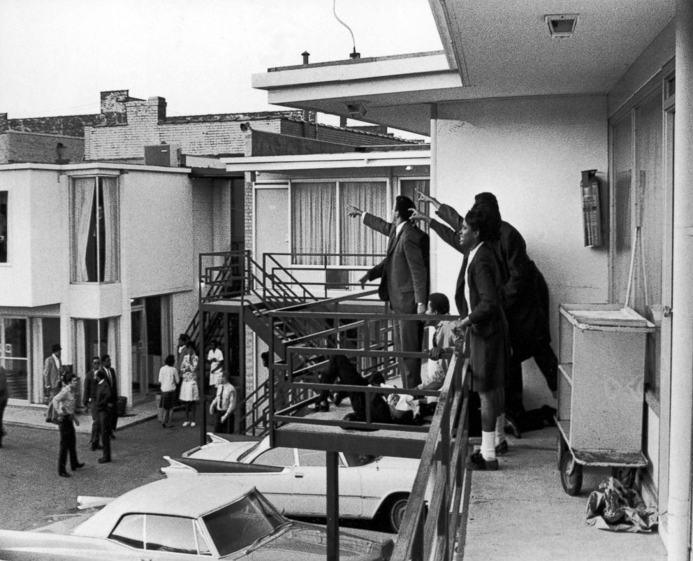 PHOTO: Dr. Ralph Abernathy, Jesse Jackson and others stand on the balcony of the Lorraine Motel where Dr. Martin Luther King, Jr., who lies at their feet, was shot and killed in Memphis, Tennessee, April 4, 1968.