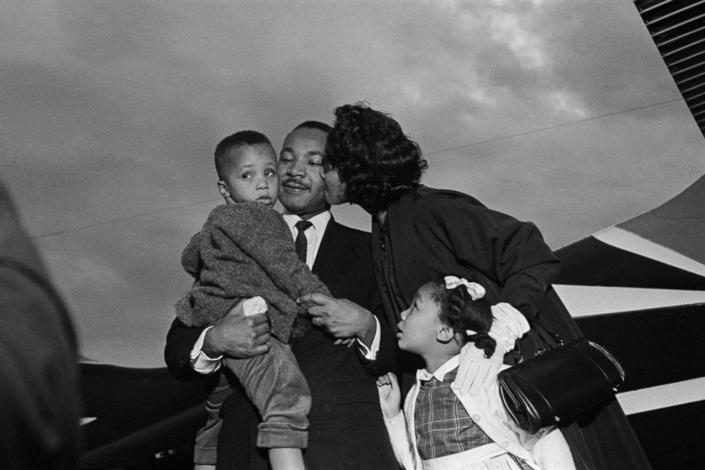 PHOTO: After Dr. Martin Luther King, Jr. is freed from jail upon his release from Georgia State prison after incarceration for leading boycotts. He is greeted by his wife Coretta and children, Marty and Yoki, in Chamblee, Georgia, Oct. 01, 1960.