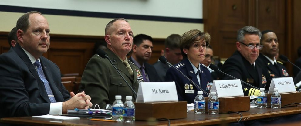 PHOTO: Military officials look on during a House Armed Services Committee hearing as on in the Rayburn House Office Building on Capitol Hill on March 21, 2017 in Washington.
