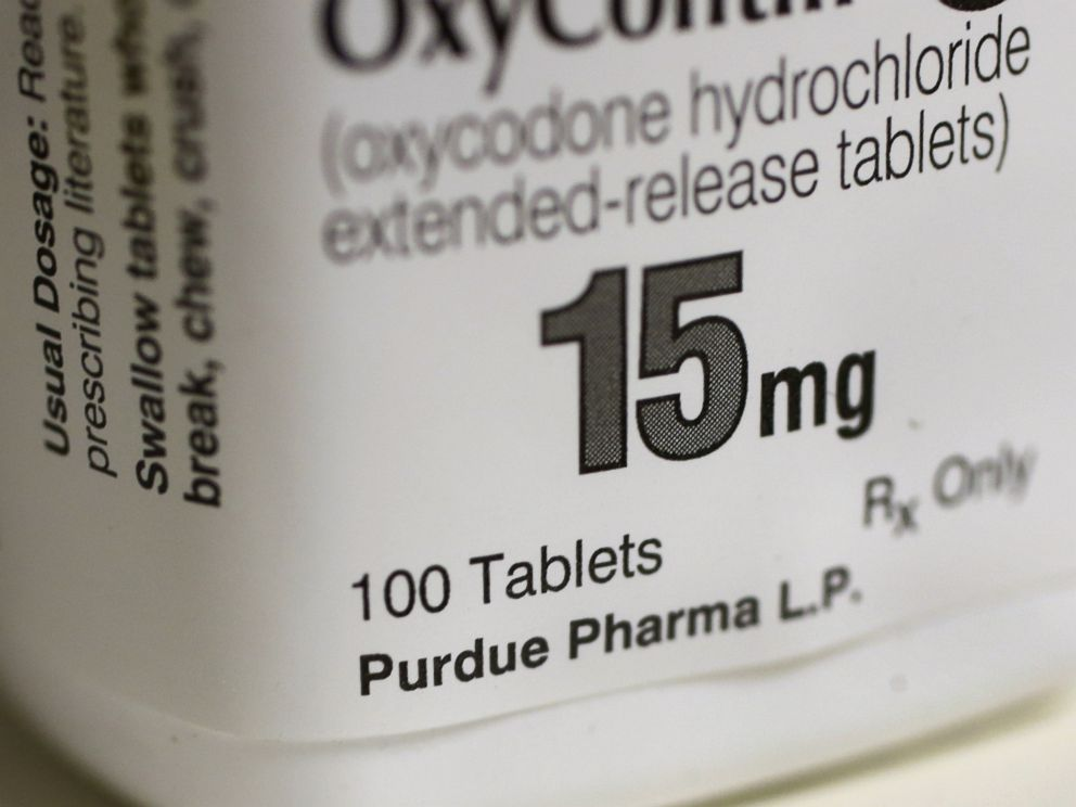 PHOTO: A bottle of Purdue Pharma L.P. OxyContin medication sits on a pharmacy shelf in Provo, Utah, Aug. 31, 2016.