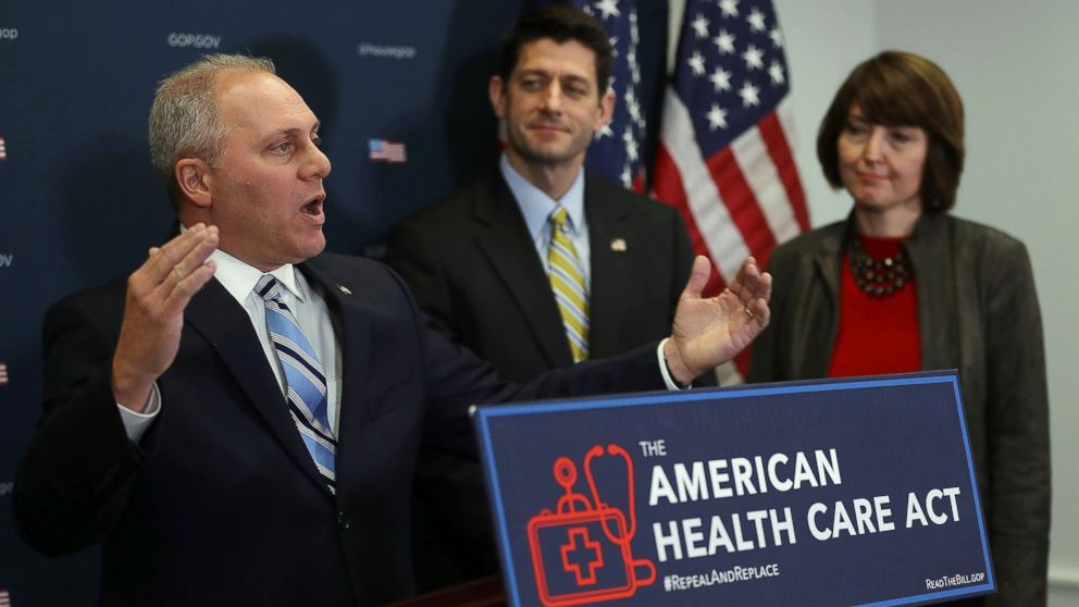 House Majority Whip Steve Scalise speaks during a news conference at the U.S. Capitol on March 15, 2017 in Washington, D.C.