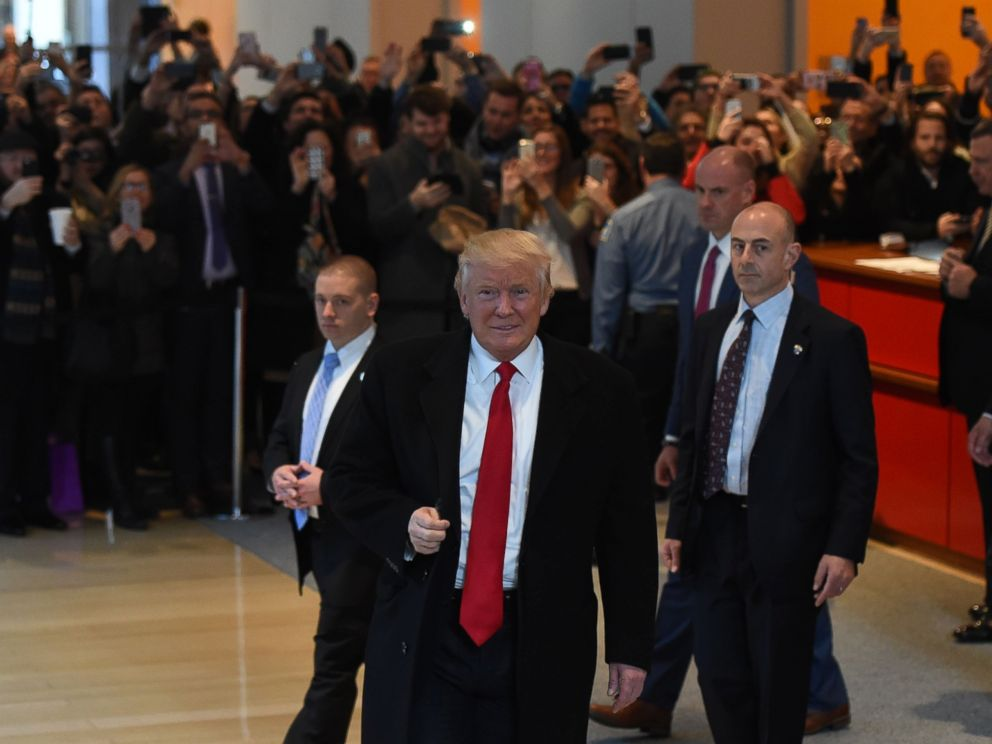 PHOTO: Donald Trump leaves after a meeting at the New York Times, Nov. 22, 2016, in New York.