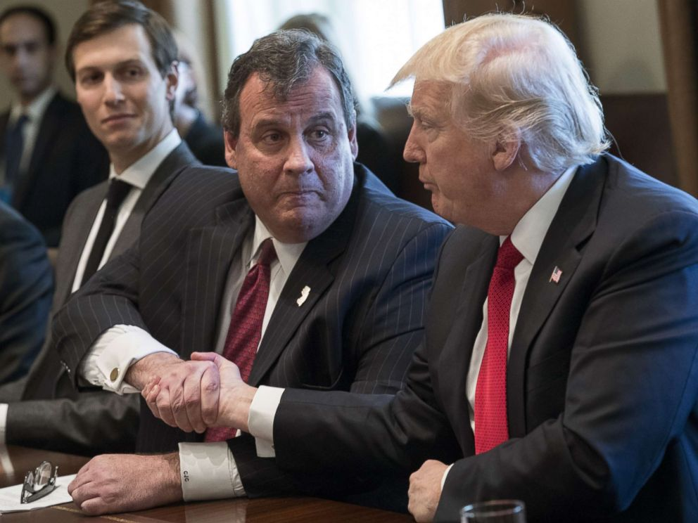 PHOTO: From left, White House senior adviser Jared Kushner, New Jersey Gov. Chris Christie and President Donald Trump attend a panel discussion on opioid and drug abuse in the Roosevelt Room of the White House, March 29, 2017.