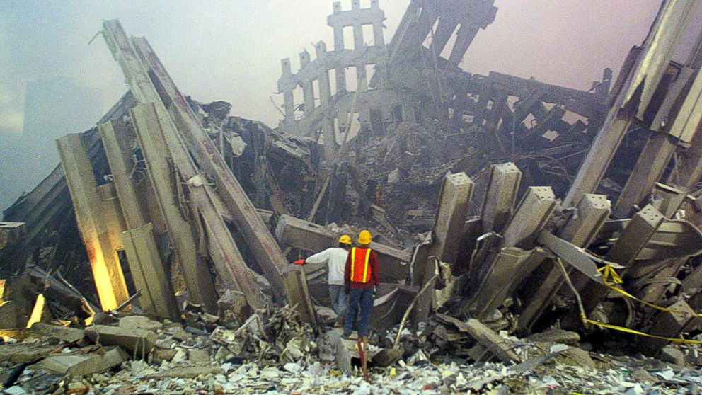 Rescue workers survey the damage to the World Trade Center in New York City in this photo taken on Set. 11, 2001. The Twin Towers of the World Trade Center which were struck by hijacked airplanes collapsed on that day claiming 2,753 lives. September 11, 2016 marks the fifteenth anniversary of the event.