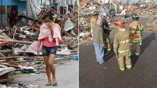 PHOTO: Survivors walk amidst damaged houses after super typhoon Haiyan hit Tacloban city, Philippines on Nov. 11, 2013 while firefighters stand in the middle of the street in Washington, Ill., after a tornado leveled at least fifty homes on Nov. 17, 2013.