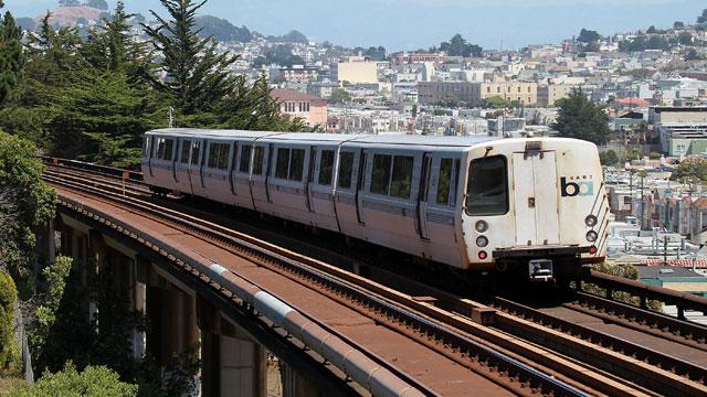 PHOTO: A Bay Area Rapid Transit train travels towards downtown San Francisco in San Francisco, California.