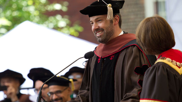 PHOTO: Ben Affleck receives an honorary Doctor of Fine Arts degree from Brown University at the 245th Commencement ceremony, May 26, 2013, in Providence.