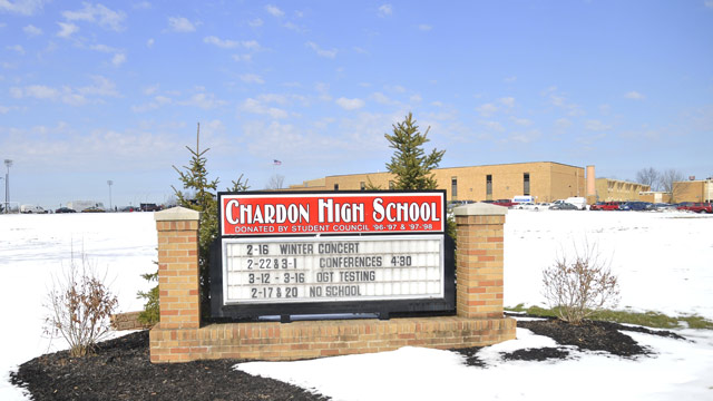 PHOTO: The sign in front of Chardon High School where a shooting took place on February 27, 2012 in Chardon, Ohio.