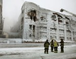 PHOTO: Firefighters work to extinguish a massive blaze at a vacant warehouse on Jan. 23, 2013 in Chicago, Ill. where more than 200 firefighters battled a five-alarm fire as temperatures were in the single digits.