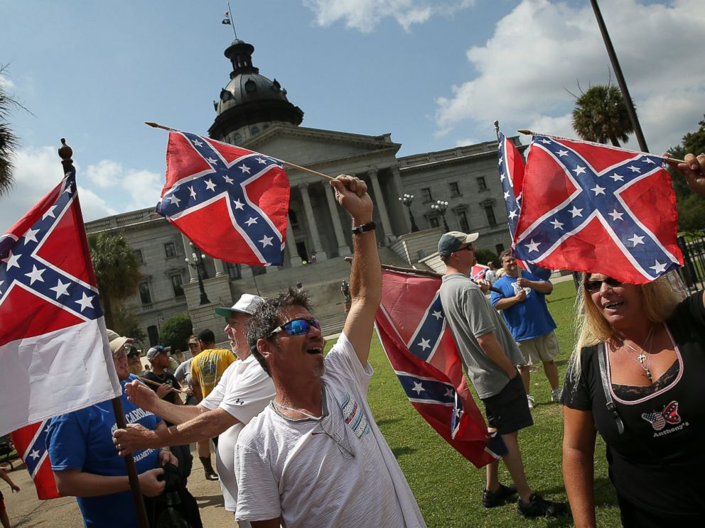 PHOTO: Demonstrators protest at the South Carolina State House calling for the Confederate flag to remain on the State House grounds, June 27, 2015 in Columbia, S.C.