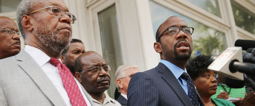 PHOTO: NAACP National President & CEO Cornell Brooks (R) joins the Rev. Joseph Darby (L) and other association leaders for a news conference about the shooting at the historic Emanuel African Methodist Episcopal Church, June 19, 2015 in Charleston, S.C.