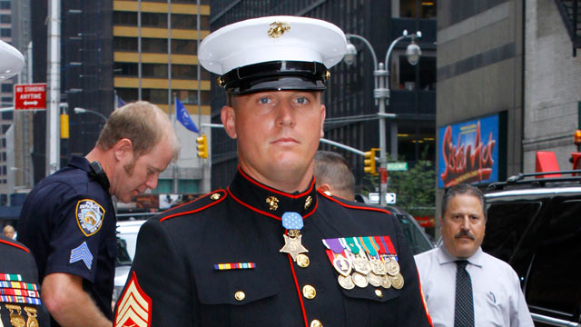"PHOTO: Sgt. Dakota Meyer leaves the ""Late Show With David Letterman"" at the Ed Sullivan Theater, New York City, Sept. 22, 2011."