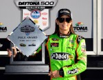 PHOTO: Danica Patrick, driver of the #10 GoDaddy.com Chevrolet, poses after winning the pole award for the NASCAR Sprint Cup Series Daytona 500 at Daytona International Speedway on Feb. 17, 2013 in Daytona Beach, Fla.