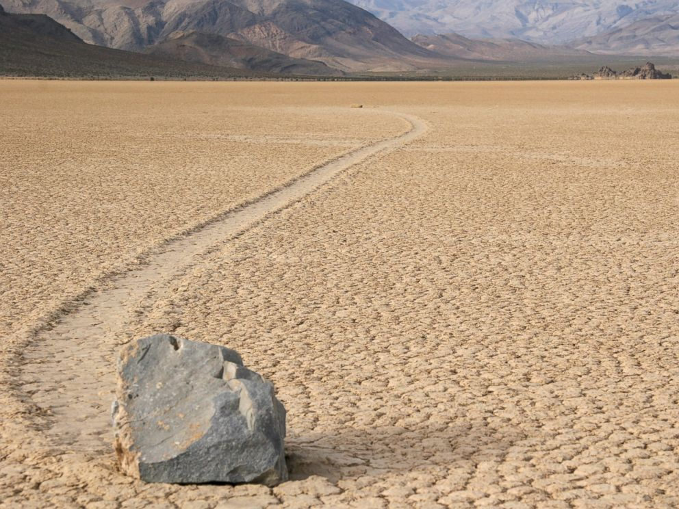 PHOTO: The movement of the sliding rocks in Death Valley has been attributed to high winds, liquid water, ice, or ice flotation, but has never been seen in person.