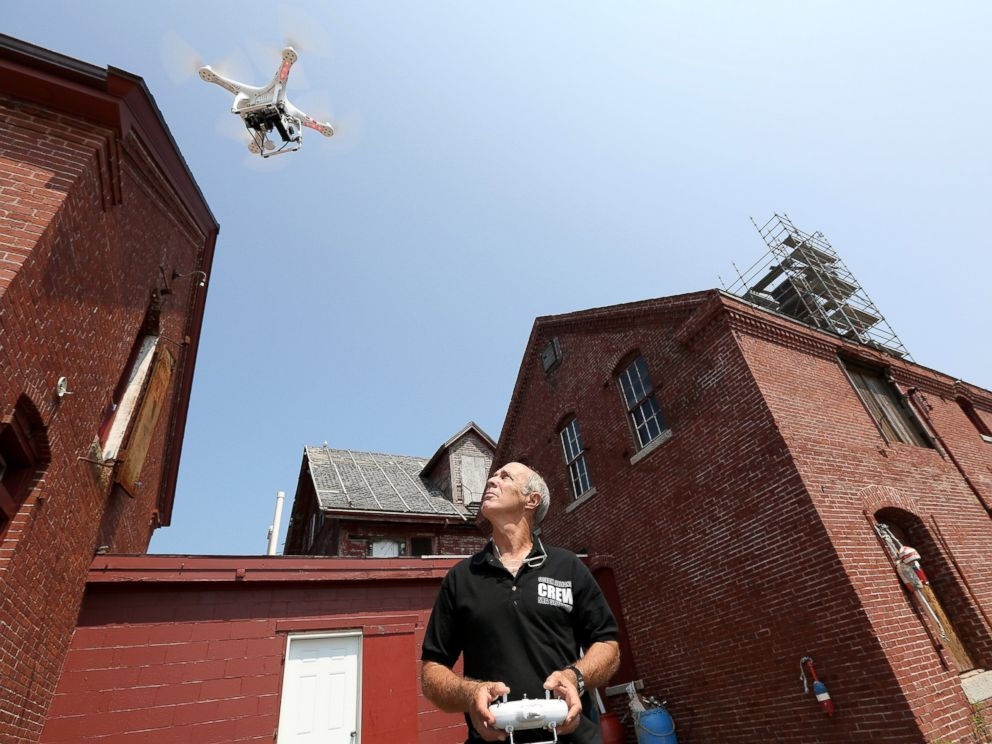 PHOTO: Lain Kerr, CEO of Ocean Alliance, demonstrates the use of a DJI-drone on July 23, 2014. Ocean Alliance uses drones as research tools to collect information on whales and the ocean environment.