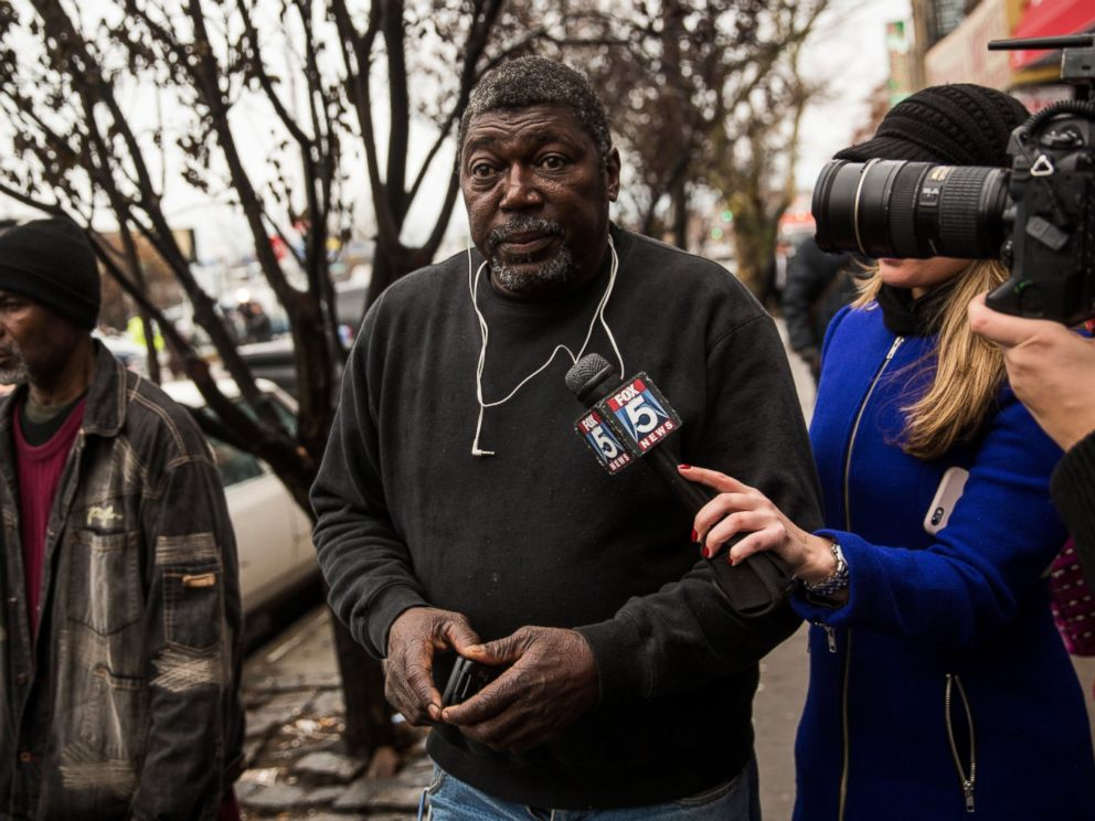 PHOTO: Benjamin Carr, father of Eric Garner who was killed by a police officer who put him in a choke hold, speaks to the media outside the beauty salon where his son was killed, Dec. 3, 2014 in Staten Island, New York.