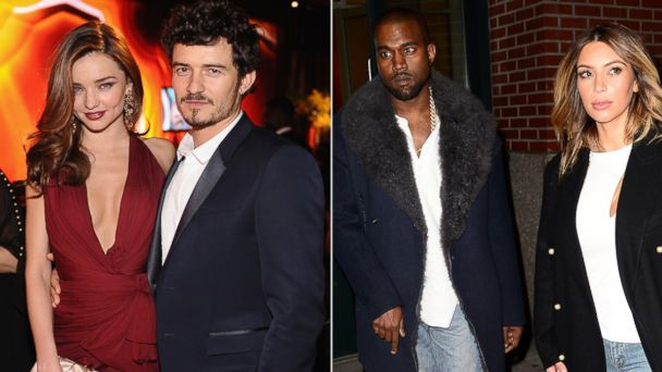 PHOTO: Miranda Kerr and Orlando Bloom, left, are seen in this Jan. 13, 2013 file photo while Kim Kardashian and Kanye West are seen in this file photo taken on November 20, 2013 in New York City.