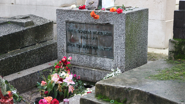 PHOTO: Jim Morrison's grave in the Pere Lachaise cemetery in Paris, France on Jan. 15, 2013.