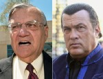 PHOTO: Left, Maricopa County Sheriff Joe Arpaio speaks with a reporter outside city jail in this May 3, 2010, file photo, and right, Actor Steven Seagal is sighted at his hotel to promote True Justice TV show on Oct. 21, 2011 in Paris.