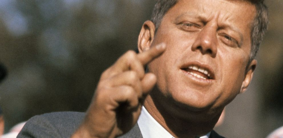 PHOTO: Sen. John F. Kennedy, D-Mass., speaks while campaigning in St. Charles, Ill., in this Oct. 25, 1960 photo.