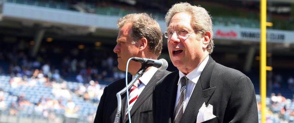 PHOTO: In this July 19, 2009 file photo, New York Yankees radio broadcaster John Sterling speaks during the teams 63rd Old Timers Day before the game against the Detroit Tigers at Yankee Stadium in New York.