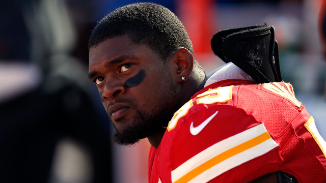 PHOTO: Inside linebacker Jovan Belcher #59 of the Kansas City Chiefs wathces from the sideliens during his final game against the Denver Broncos at Arrowhead Stadium on Nov. 25, 2012, in Kansas City, Mo.